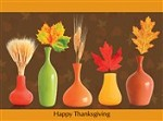 7322 Thanksgiving Card - Autumn foliage in vases (Pack of 50)